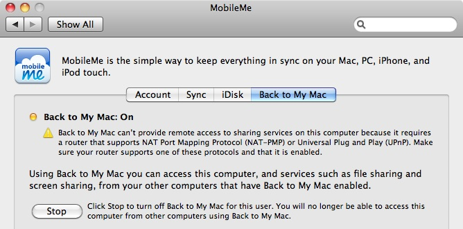 Back to My Mac Warning Screenshot